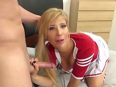 Slutty blonde cheerleader fucking a horny frat dude