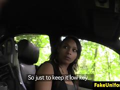 Young ebony blowing fake cops cock