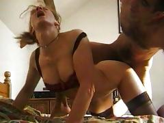 French redhead gets it anally on the bed
