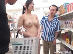 naked in the supermarket and sucking on hard cocks!
