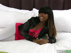 Lovely black teen chick fucked by a hard white dick