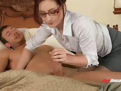 Slutty secretary in glasses waking up her boss with a blowjob