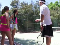 Teen sporty slut gets a tennis lesson then fucks on the court