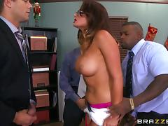 Office slut in lingerie gets fucked by her colleagues