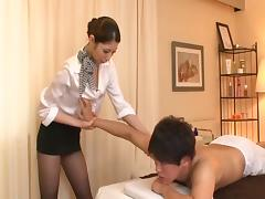 Sultry Asian chick with fantastic juggs playing with a stranger's cock