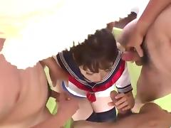 Ai Mizushima Japan schoolgirl fucking in group