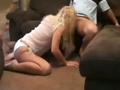Hot blonde has oral, doggystyle and missionary sex with pussy cumshot on the sofa.