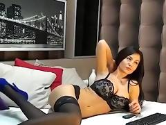 Stunningly beautiful babe with big boobs enjoys masturbating on cam