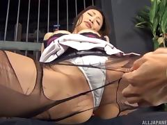 Guys strip the sexy Japanese girl naked and fondle her tits