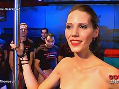 Skinny jizz loving German redhead ends up drenched in cum