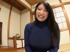 Big boobs hottie in a turtleneck and pantyhose masturbates