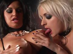 Elegant lesbian babes masturbate erotically with toys