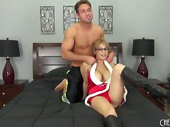 Sexy Christmas slut in leather boots banged hardcore