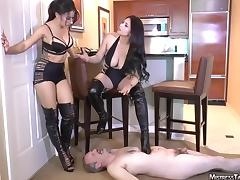 Tangent and friend femdom spit boot humiliation of male slut