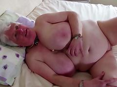 Old granny with big tits and thirsty vagina
