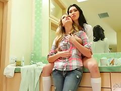 Early morning sex in the bathroom between lesbian babes