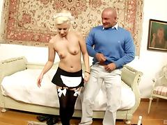 His blonde French maid keeps her stockings on to fuck
