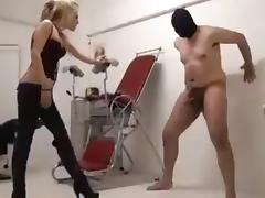 Sadistic Domina found a boy toy for ballkicking