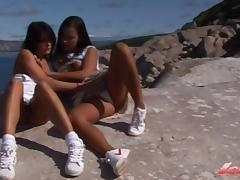 Two collague girls from Norway having outdoor fun