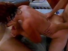 Russian whore + 2 guys. BJ and doggy style!