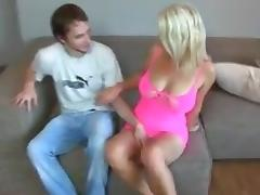 German mature takes 2 creampies from junior man