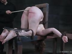 harley's ass is inverted, whipped and caned
