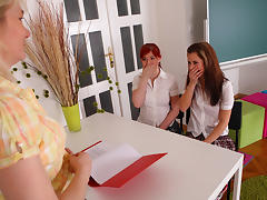 Gloria & Alisa in Blonde lesbian teacher seduce two sexy female students into 3-way action - SheMadeUsLesbians