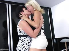 A couple of mature women eating each other's vintage pussies