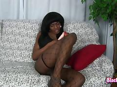 Sexy black tgirl fucked up the ass by a white guy