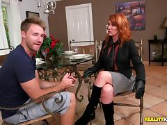 Insanely hot redheaded milf makes a hardcore reality fuck