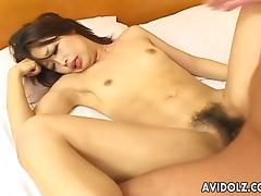 Her hairy wet pussy gets fucked and she squirms