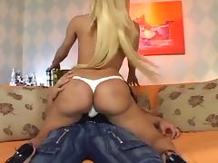 Tranny blonde rimmed on her tight ass and fucked