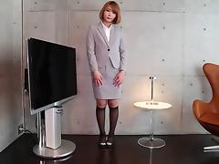 Skirt suit is sexy on a solo stroking Japanese transsexual