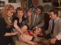 Old-school German fisting with facial