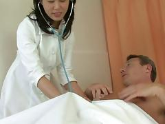 Nurse has a threesome with her patient and his buddy