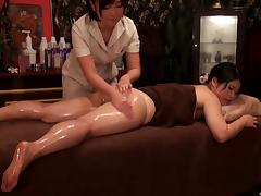 Two beautiful Japanese chicks turn the massage into lesbian action