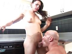 After a hot 69 with a shemale he bends her over and bangs her