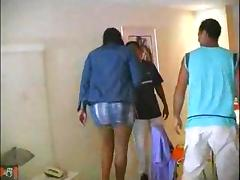 Ebony threesome with a burning ladyboy