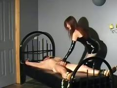 Mistress using her bound sex slave to please herself