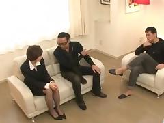 Office threesome along Akina Hara