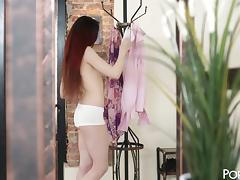 Tight redheaded teen hottie in knee highs fucks her man