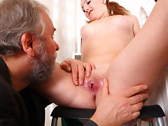 sexy girl's pussy is eaten out and licked and then fucked by two men until covered in cum - OldGoesYoung