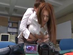 Asian office group sex with the perky breasts beauty