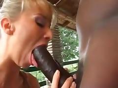Blonde European Milf sucking fucking big black cock
