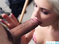 Tiny and enticing Henely Hart gets fucked by Brunos big cock