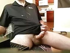 Sexy dude is jerking in the apartment and filming himself on webcam