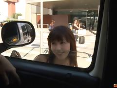 Asian hops in the car to get sweaty and get fucked