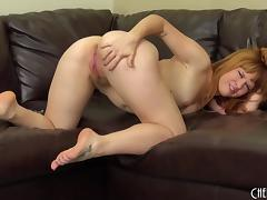 Small tits and a big ass on the solo finger banging cutie