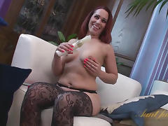 Bunny, Bunny, Masturbation, Mature, Redhead, Stockings