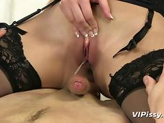 He pisses in her mouth before bending her over and fucking her